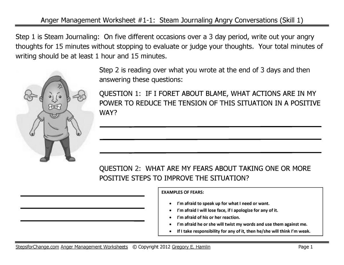Thumbnail of Anger Worksheet 1-1 Steam Journaling Angry Conversations v 1