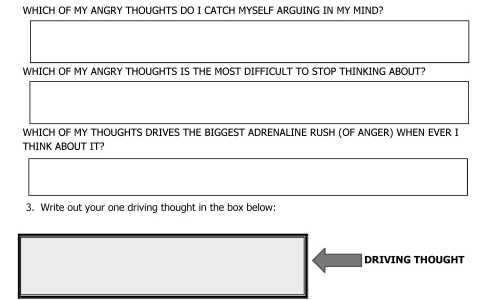 Anger Management Worksheet for Driving Thought Page 1 Thumbnail
